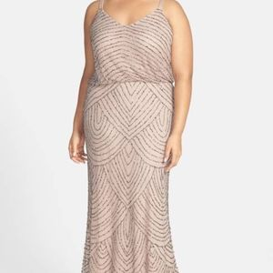 Adrianna Papell Beaded Art deco Maxi Gown Dress